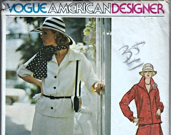1970's Designer Top, Skirt and Scarf Pattern  VOGUE 1229 Vogue American Designer Teal Traina  70's Pattern  UNCUT, Factory-Folded  Bust 36