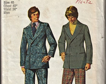 1970's Men's Double-Breasted Suit Pattern SIMPLICITY 5883 Cuffed Pants Wide Lapels  1973 Retro Men's Pattern  UNCUT, Factory-Folded  Size 40