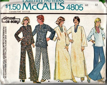 1970's Caftan, Tunic Top and Pajama Pants Pattern with Embroidery Transfer  McCall's 4805  1975 Retro Pattern UNCUT, Factory-Folded  Bust 34
