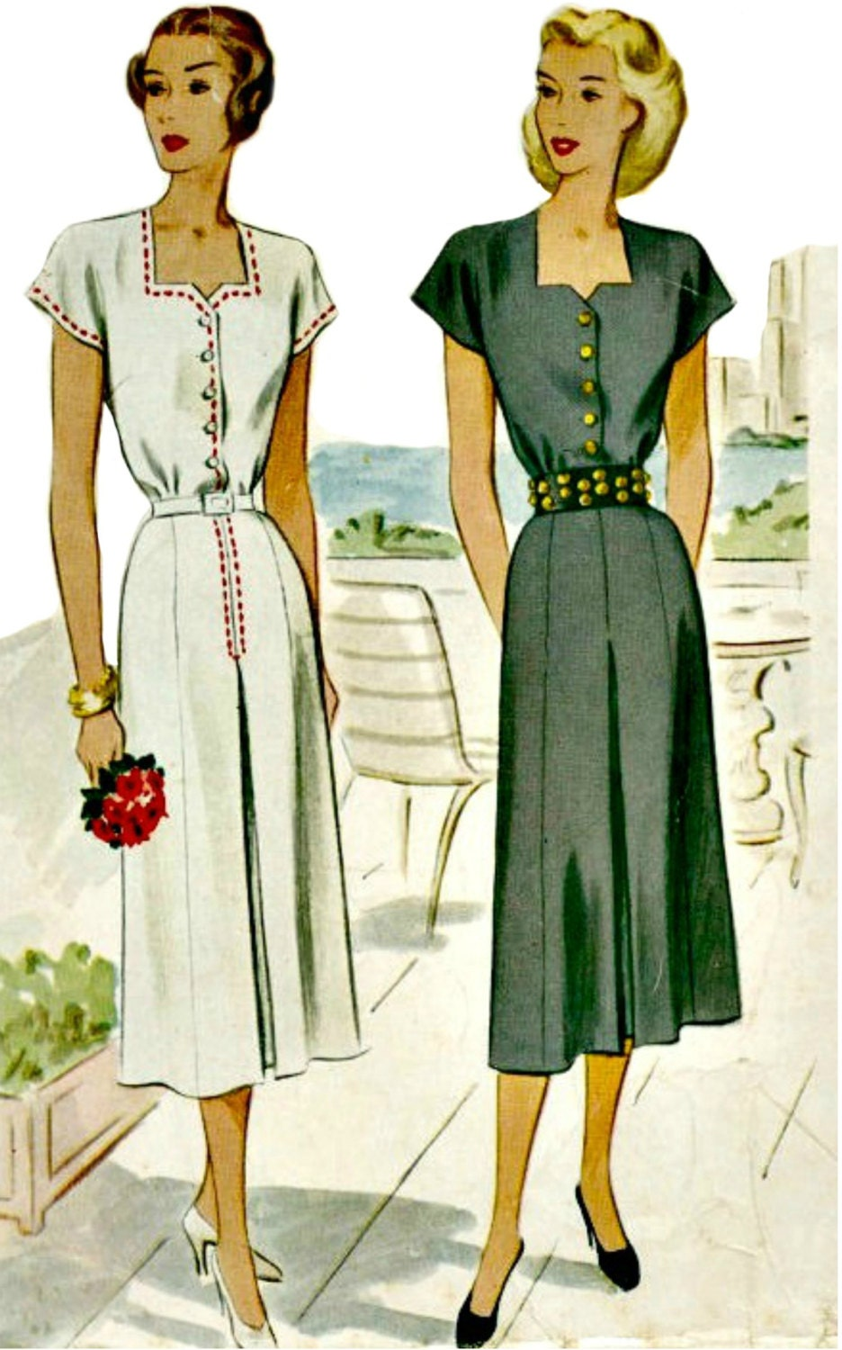 1940s Day Wear: 1940s Summer Day Dress Pattern McCall 7207 1948 Dress With