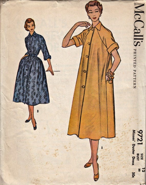 40's Duster Dress Pattern McCALL's 40 40 Etsy Fascinating Vintage Dress Patterns 1950s