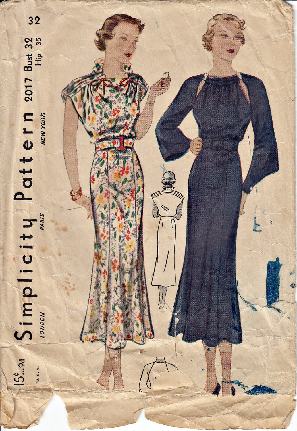 1930's Classic Dress Pattern Simplicity 2017 Unprinted Out of Print 30's Dress Pattern Vintage Sewing Pattern UNCUT, Factory Folded Bust 32