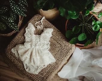 Neutral lace sitter dress set