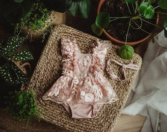 Sitter.  Pink floral dress set