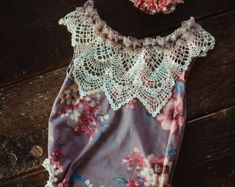 Floral and lace onesie romper set