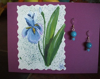 Hand Painted Original Card with Turquoise Jade Earrings