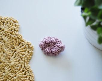 Crochet cloud brooch, cloud pin, glitter pink, ready to ship