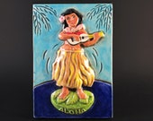 DASHBOARD HULA GIRL Ceramic Art Tile, 4 x 6 Wall Plaque, Americana Kitsch Decor