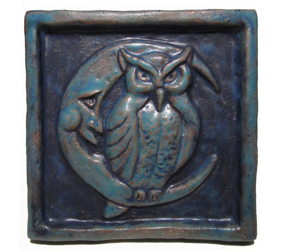 Night Owl Ceramic Wall Art Tile Antique Turquoise 4x4 Etsy