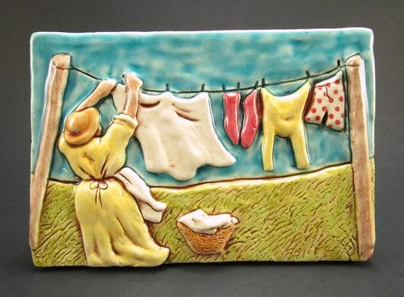 Retro Laundry Line 4 X 6 Ceramic Wall Art Tile Vintage Etsy