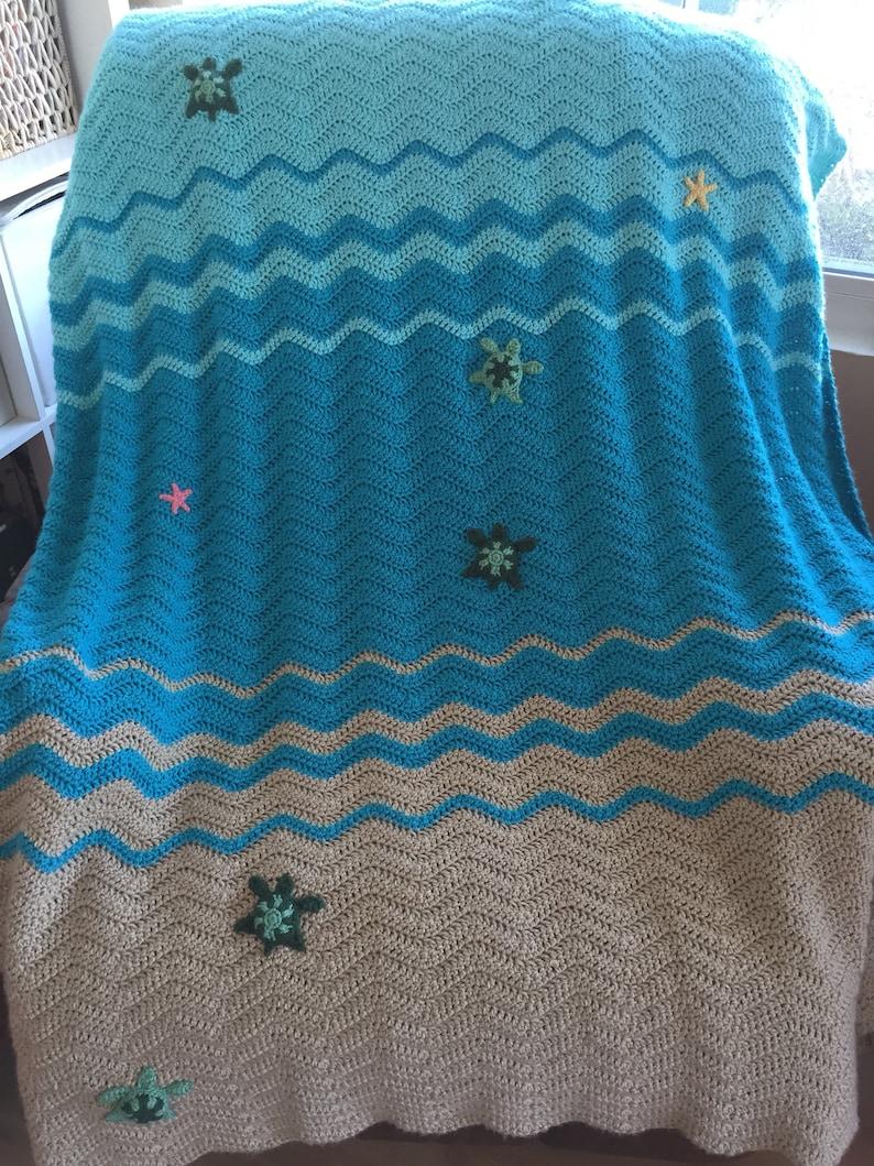 Tortue De Mer Et étoile De Mer Couverture Couverture De Lit Au Crochet Couverture Bébé Jeter