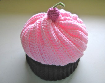 Crochet Cupcake Hat, Light Pink Cupcake Hat With Chocolate Cake - Made To Order