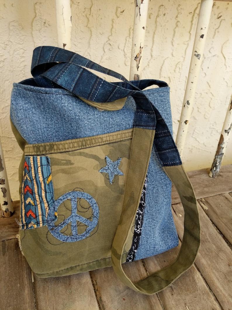 Hobo Bag Festival Bag Shoulder Bag Hippie Bag Denim camo lace Boho Bag Bucket Style Bag Messenger Bag Cross Body Bag Custom Purse