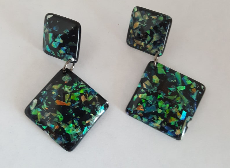 Black Acrylic Drop Earrings with Green Turquoise and Gold Foil