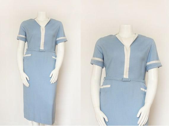 1930s Dress   Vintage 30s Dress   NOS Blue Linen  