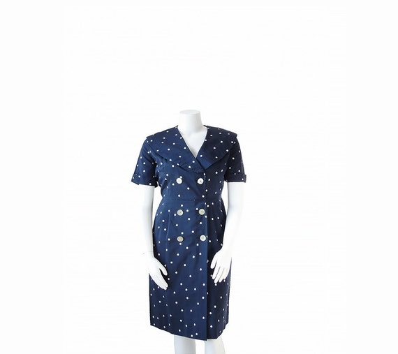 40s Plus Size Dress • 1940s Polka Dot Dress • Navy Blue • XL XXL