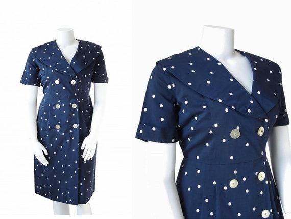 40s Plus Size Dress | 1940s Polka Dot Dress | Navy