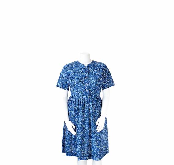 1960s Plus Size Dress • 60s Blue Floral Day Dress