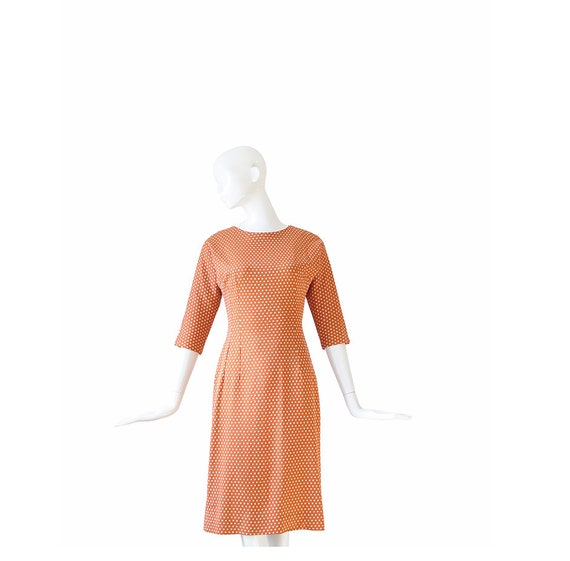 1960s Sheath Dress • 60s Polka Dot Dress • Small S