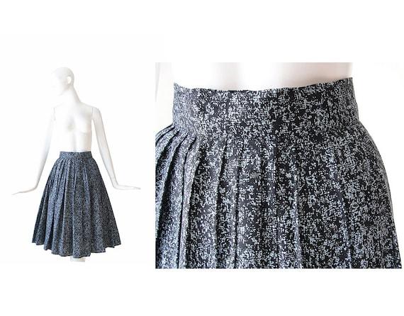 1950s Skirt • 50s Full Skirt •Black and Blue • XS