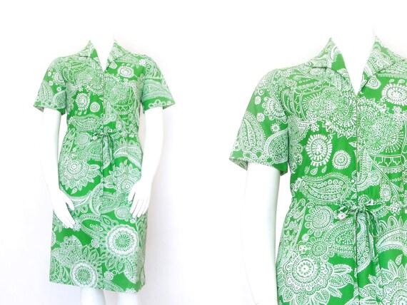 1960s Green Mandala Dress | 60s Hawaiian Volup Dre