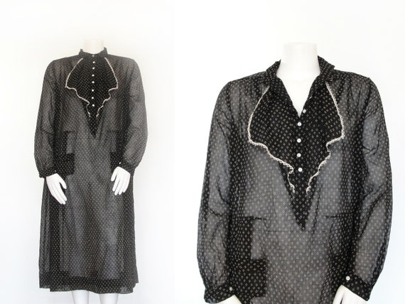 DEADSTOCK 1920s Dress | 20s Day Dress | Black and