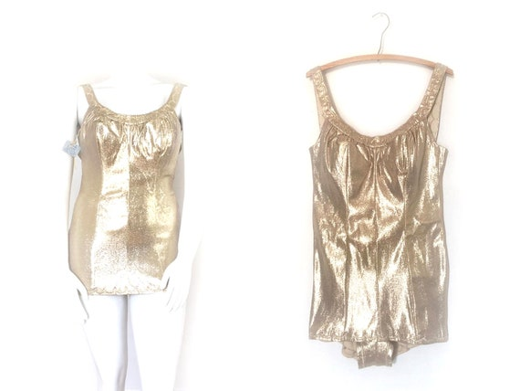 1950s Gold Swimsuit | 50s Pin up Lurex Bathing Sui