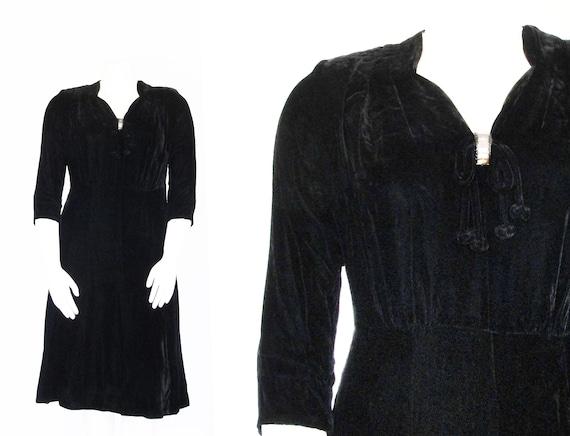 Volup 1940s Velvet Dress | 40s Black Evening Dress