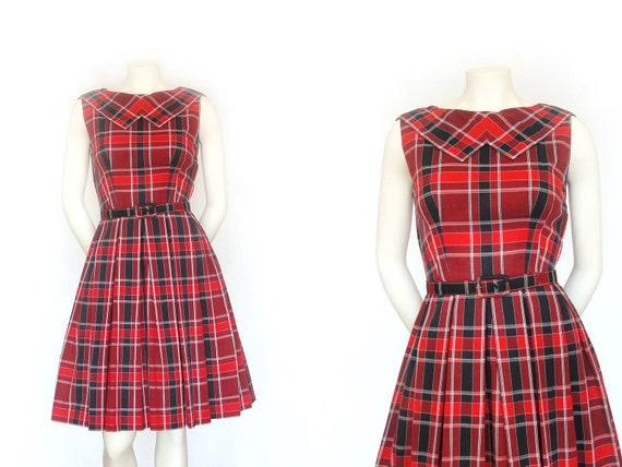 1950s Dress   Vintage Red Plaid 50s Dress   XXS XS