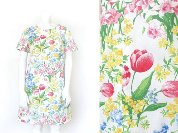 80s Floral Dress | Vintage 1980s Botanical Day Dre