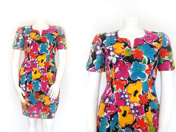 1980s Dress | 80s Vintage Volup Dress | Floral She