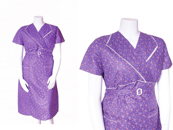 1930s Dress Plus Size • 30s Purple Floral Dress •