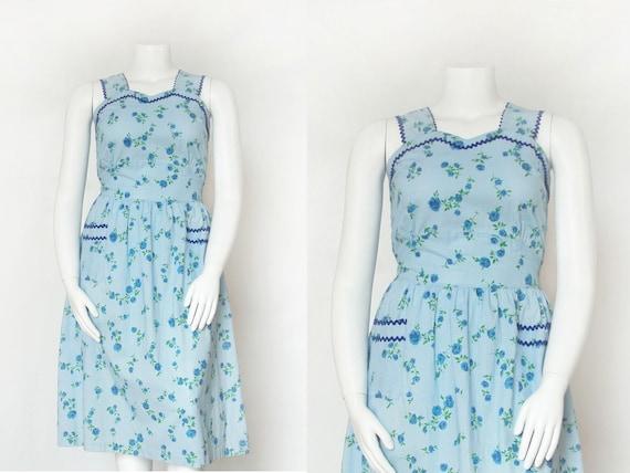 1940s Dress | Vintage 40s Cotton Blue Floral Dress