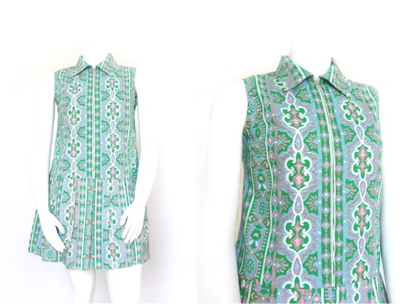 1960s Dress | Vintage 60s Dress | Green Floral Sko