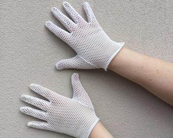 60s White Mesh Gloves / Size B Large / MOD  60s Gloves - Wrist length Gloves - 60s white fishnet
