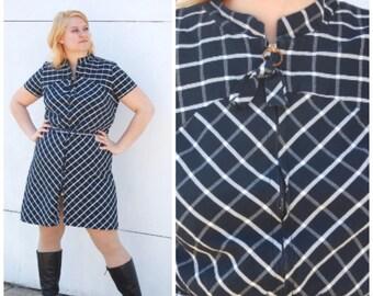 1960s XXL Geometric Print Dress - Navy Blue and White Cotton Dress // 60s Plus Size Dress Volup Mod Dress // 60s XL Dress