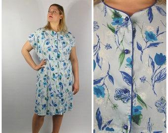 1950s Floral Print Cotton House Dress - Day Dress / XXXL 56 Bust XXL - Flower Pattern 50s Button Down Dress