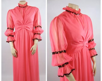 70s Bright Orange Gown / 40 Waist / Sequins Trim Gibson Girl 1890s Victorian Musical Stage Costume Theater Ruffled brightly colored