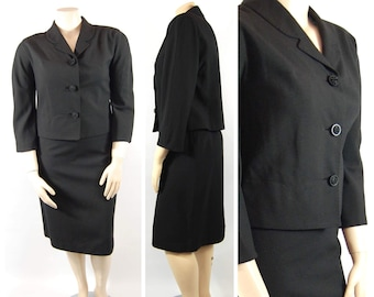 60s Ladies Wool Suit / 44 Bust XXL / Plus Size Chas Stevens - Early 1960s Black Wool Suit Volup late 50s early 60s Jackie O Suit Mad Men