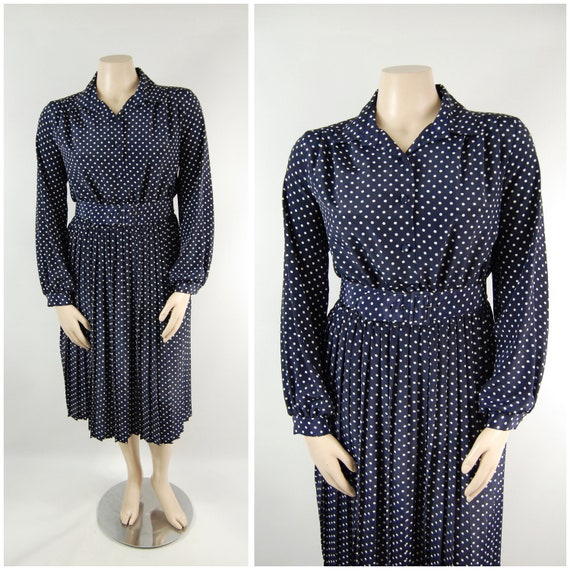 1940s Style Navy Polka Dot Shirtwaist Dress / 33""