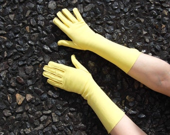 50s 60s Yellow Gloves - by  Grandoe size 7 1/2 -  Long Yellow Gloves - XL Gloves - Evening Formal 1950s - Long length Flared Cuff