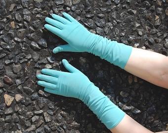 60s Aqua Gloves - by Hansen size 7  - Long Blue Gloves - Aqua Blue Gloves - Evening Formal 1950s - Long length Flared Cuff