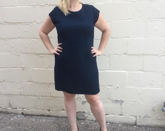 60s Blue and Black Sheath Dress - XXL 1960s Dress / Dressy Casual Day Dress Mid 60s Early 1960s Plus Size Volup Womens Patterned Dress