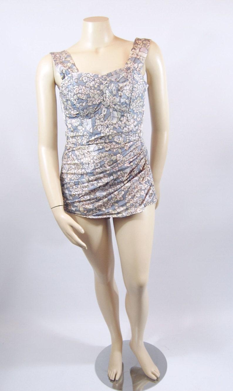 50s Plus Size SwimSuit 50s Floral Bathing Suit 1950s | Etsy