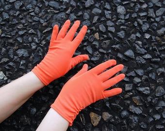 1950s 60s Short Orange Gloves // Nylon // XL Early 1960s - Wrist length