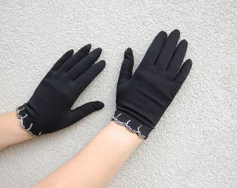 1950s XL Black Gloves Rhinestone Trimmed // Short Black Gloves by Finale - All Nylon 50s // One size fits all