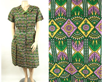 1960s Shirtwaist Dress / 46 Bust XXXL / Mid to Late 1960s House Dress Day Dress 60s Colorful Art Deco Geometric Pattern Green Purple Yellow