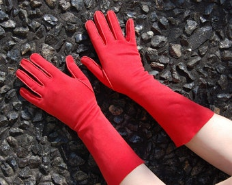 50s Red Gloves - by Crescendoe size 7  - Long Red Gloves - 3/4 Length Gloves - Evening Formal 1950s - Long length Flared Cuff