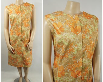 60s 70s Zip Front Dress / 56 - 58 Bust / Channel 1 Bill Sims Orange Brown Green House Dress Day Dress  Polyester Orange Floral Print Dress