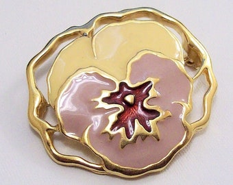 Avon Pansy Flower Pin Brooch Gold Tone Vintage Avon Full Bloom Yellow Pink Red Open Edge